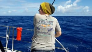 Amanda sporting her swimmable, fishable, drinkable t-shirt