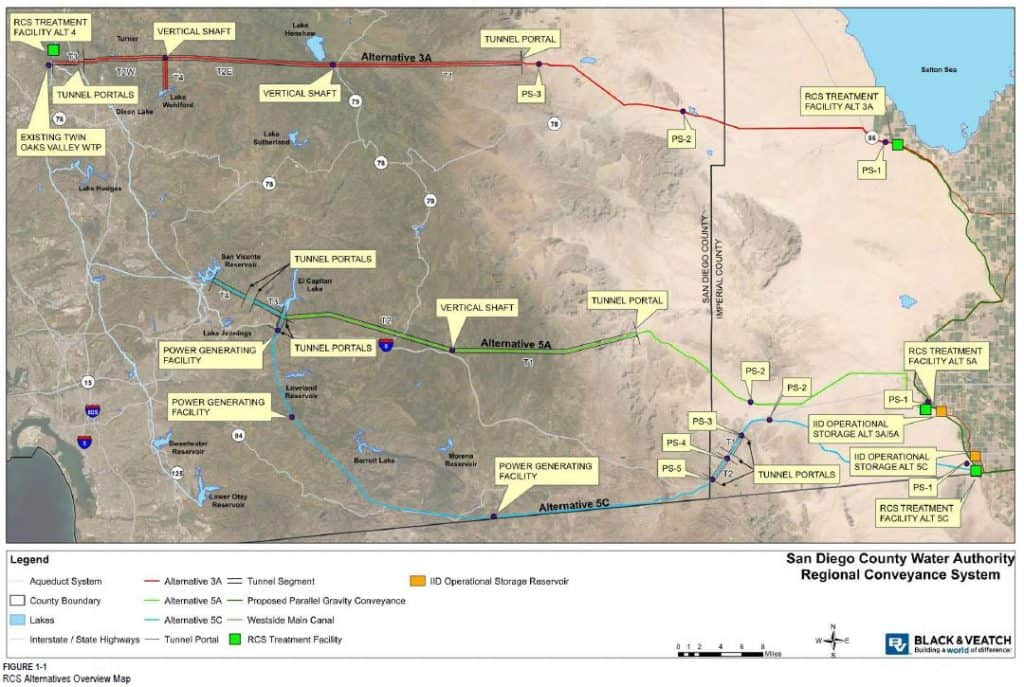Regional conveyance system alternatives overview map by Black and Veatch